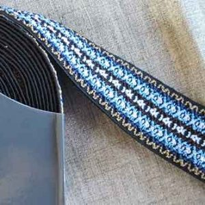 50mm woven patterned waistband or belt elastic (blue/black)