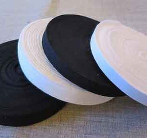 12mm and 25mm 100% cotton tape in black and white