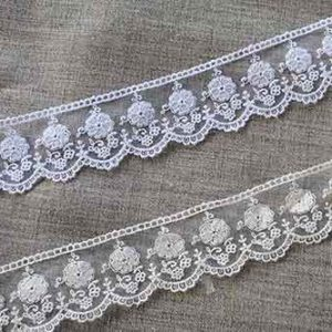 52mm embroidered tulle lace trim