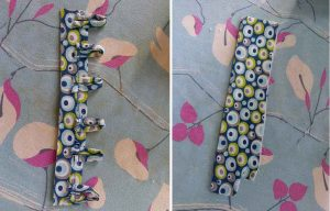 Left: for convenience, I attached the loops to a folded strip of fabric. Right: then I needed to create a facing for the button-side of the opening. *Contrasting fabric, front and back.