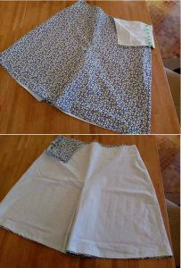 Finished culottes, showing fabric contrast.
