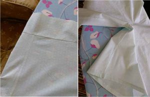 Right: flat-fell seam finish, centre front and back. Left: zig-zag seam finish and hem.