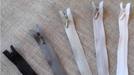 YKK concealed/invisible zips: white/black/grey