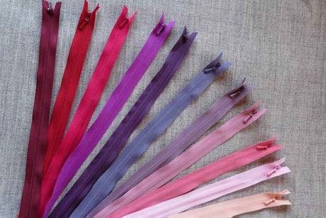 YKK concealed/invisible zips: pinks/reds