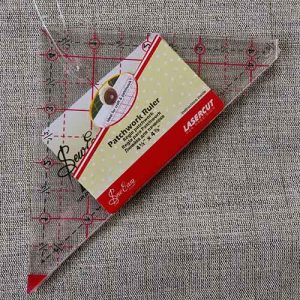 "Patchwork triangle rule - 4.5"" with 1/4"" seam gauge"
