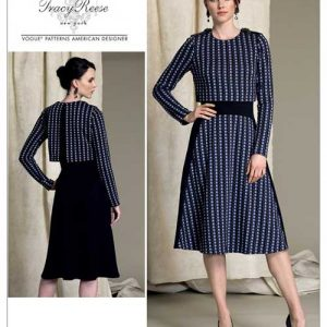 V1512 Misses' lined dress with contrast overlay