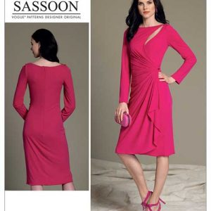 V1514 Misses' mock wrap dress