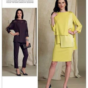 V1516 Misses' batwing or overlay-tops, pencil skirt and pants