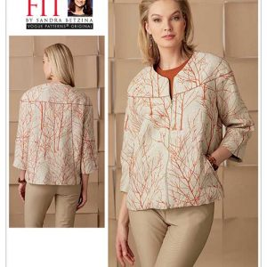 V1549 Misses' Lined Seam-Detail Jacket with Front and Back Yoke