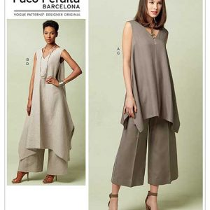 V1550 Misses' Pullover Tunic with Uneven Hem and Wide-Leg Pants