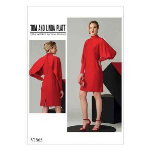 V1565 Misses' High Neck Dress with Full Sleeves