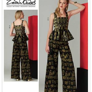 V1572 Misses' Sleeveless Peplum Top and Wide Leg Pants