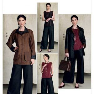 V9215 Misses' jacket, vest, top, dress, skirt and pants