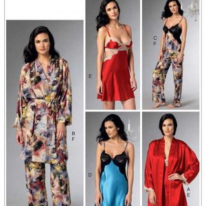 V9218 Misses' robe, belt, camisole, nightgown and pants