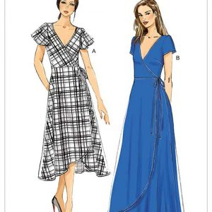 V9251 Misses' Wrap Dresses with Ties, Sleeve and Length Variations