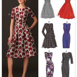 V9267 Misses' Fit-And-Flare Dresses with Waistband and Pockets