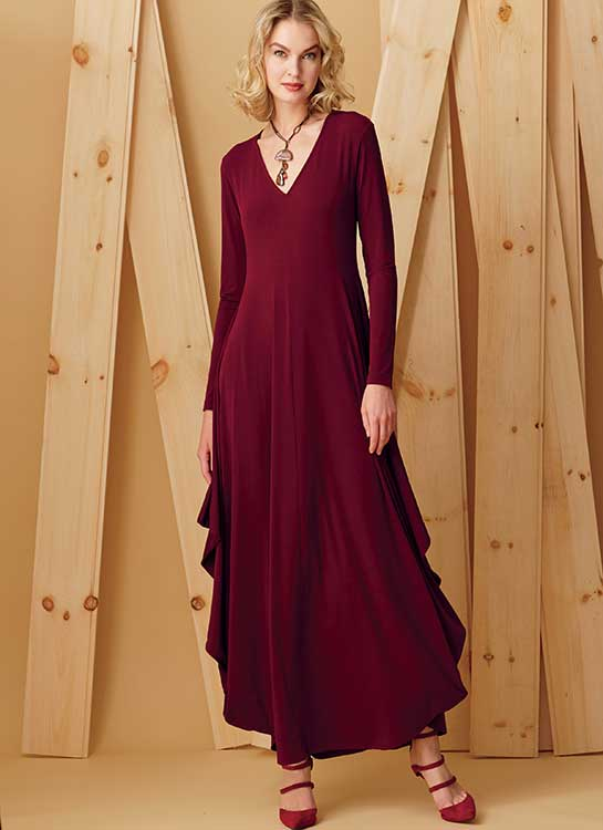 V9268 Misses' Knit, V-Neck, Draped Dresses