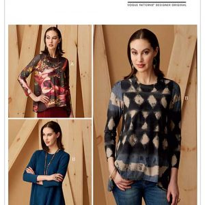 V9272 Misses' Knit Swing Tunics with Godets