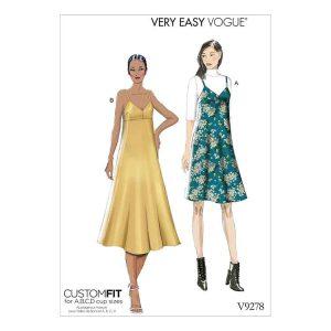 V9278 Misses' Slip-Style Dress with Back Zipper