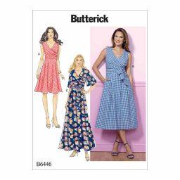B6446 Misses' Pleated Wrap Dresses with Sash