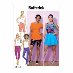 B6460 Misses' Pleated Skort, and Pull-On Shorts and Pants