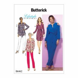 B6462 Misses' Cold-Shoulder Top, Tunic, Dress and Jumpsuit with Sash, and Pull-On Pants