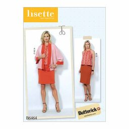 B6464 Misses' Banded Jacket, Notch-Neck Top and Pencil Skirts