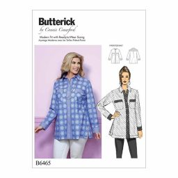 B6465 Misses'/Women's Button-Down Shirt with Side Slits and Bust Pockets