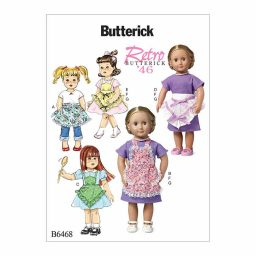 """B6468 Ruffled Full or Half Aprons, Dress and Necklace for 18"""" Doll"""