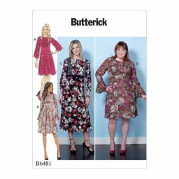 B6481 Misses'/Women's Dresses with Set-In Waistband, and Bodice and Sleeve Options