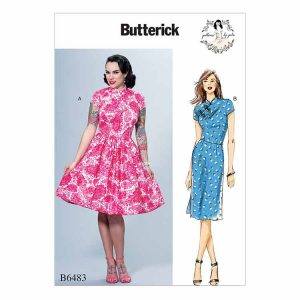 B6483 Misses' Dresses with Mandarin Collar and Skirt Options