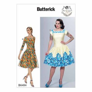 B6484 Misses' Square-Neck, Dropped-Waist Dresses and Petticoat Ruffle