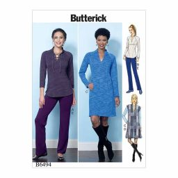 B6494 Misses' Knit Raglan Sleeve Tops and Dress, Vest, and Pull-On Pants