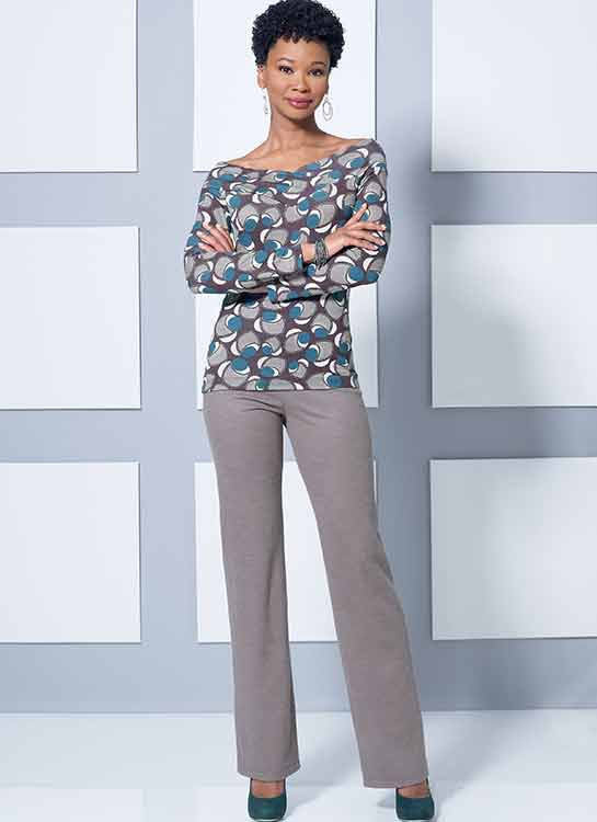 B6495 Misses' Knit Off-the-Shoulder Top, Dress and Jumpsuit, Loose Jacket, and Pull-On Pants