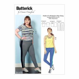 B6498 Misses'/Women's Knit Tops and Elastic-Waist Pants with Contrast Band