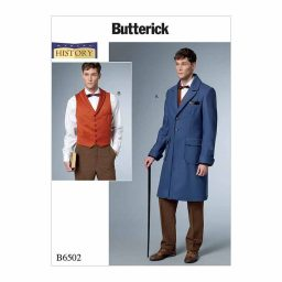 B6502 Men's Single-Breasted Lined Coat with Back Belt and Vest with Buckle