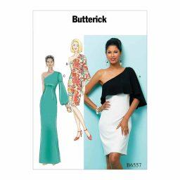 B6557 Misses' One Shoulder Dress