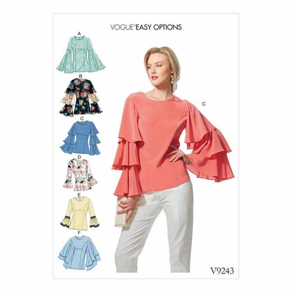V9243 Misses' princess seam tops with flared sleeve variations
