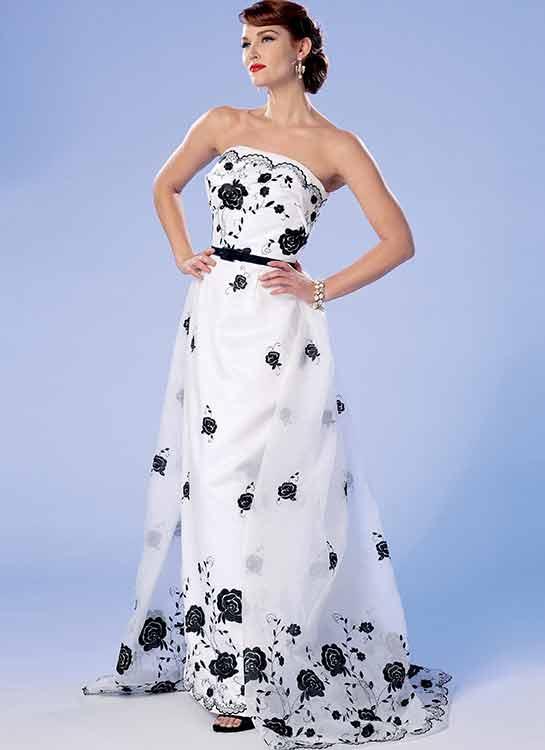 B6353 Misses' dress, detachable train and belt