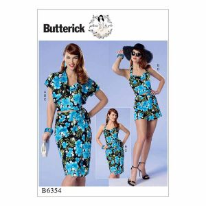 B6354 Misses'/Misses' petite bolero, bustier, sarong skirt and shorts