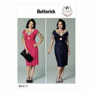 B6413 Misses' Gathered-Front, Keyhole Dress