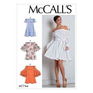 M7744 Misses' Dresses and Belt