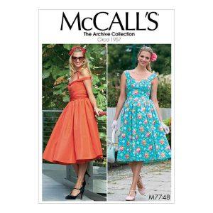 M7748 Misses' Dresses and Cummerbund