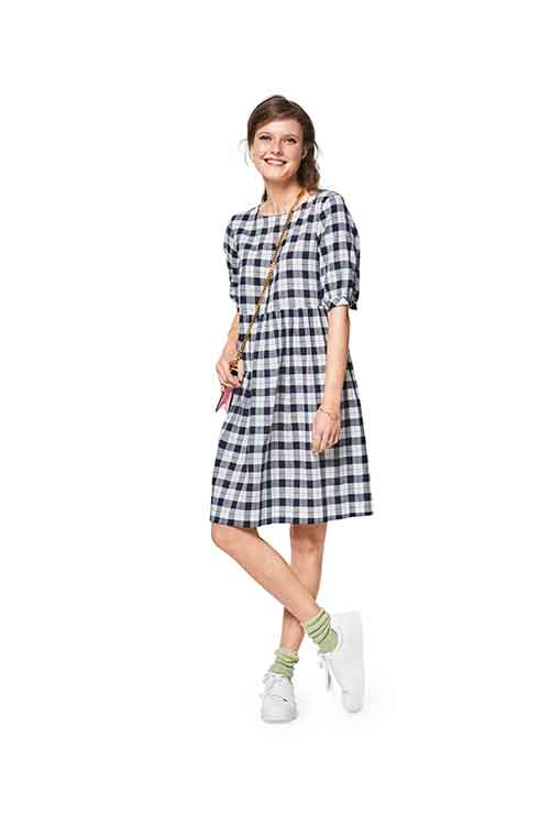 Burda Style Pattern B6401 Womens Swing Dress With Sleeve Variations