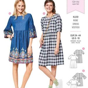 Burda Style Pattern B6401 Women's Swing Dress with Sleeve Variations