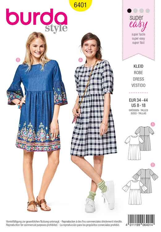 9b6e93e2ccb6 Burda Style Pattern B6401 Women s Swing Dress with Sleeve Variations ...