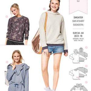 Burda Style Pattern B6406 Women's Tops & Hoodies With Rib Knit Bands