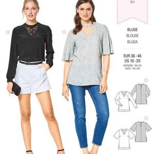 Burda Style Pattern B6424 Women's V-Neck Blouses