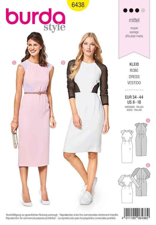 Burda Style Pattern B6438 Women's Figure Fitting Dresses