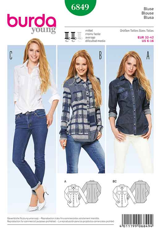 Burda Style B6849 Top, Shirt & Blouse Sewing Pattern - Sew Irish